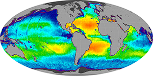 Global sea surface salinity, April 2012