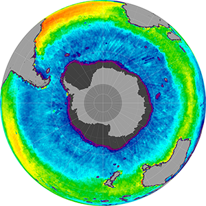Sea surface salinity in the Southern Hemisphere, April 2013