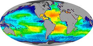 Global sea surface salinity, April 2014