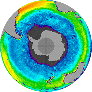 Sea surface salinity in the Southern Hemisphere, April 2014