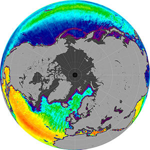 Sea surface salinity in the Northern Hemisphere, April 2015