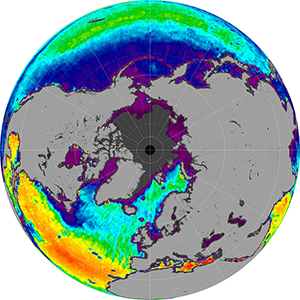 Sea surface salinity in the Northern Hemisphere, August 2011