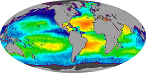 Global sea surface salinity, August 2012