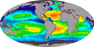 Global sea surface salinity, August 2014