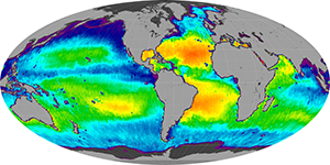 Global sea surface salinity, December 2011