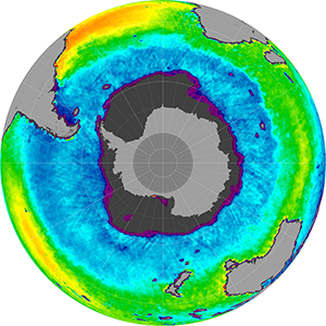 Sea surface salinity in the Southern Hemisphere, December 2011