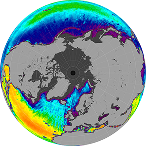 Sea surface salinity in the Northern Hemisphere, February 2012
