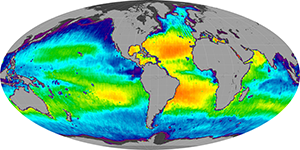 Global sea surface salinity, February 2013