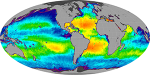 Global sea surface salinity, February 2015