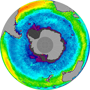 Sea surface salinity in the Southern Hemisphere, February 2015