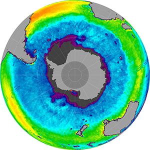 Sea surface salinity in the Southern Hemisphere, January 2012