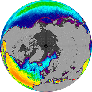 Sea surface salinity in the Northern Hemisphere, January 2013