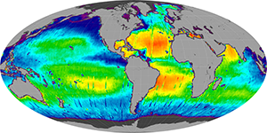 Global sea surface salinity, July 2012