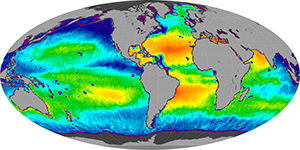Global sea surface salinity, July 2013