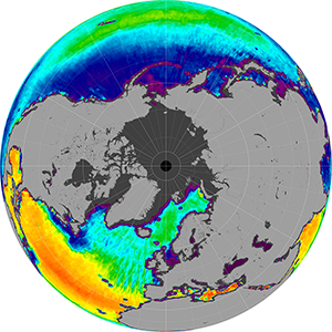 Sea surface salinity in the Northern Hemisphere, June 2013