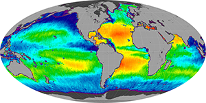 Global sea surface salinity, June 2014