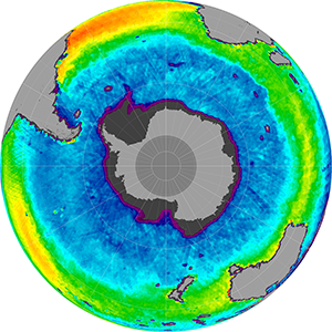 Sea surface salinity in the Southern Hemisphere, March 2014