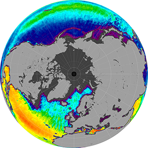 Sea surface salinity in the Northern Hemisphere, March 2015