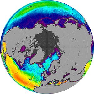 Sea surface salinity in the Northern Hemisphere, November 2012
