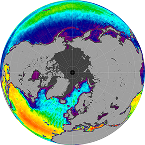 Sea surface salinity in the Northern Hemisphere, November 2013