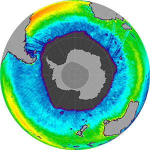 Sea surface salinity in the Southern Hemisphere, September 2011