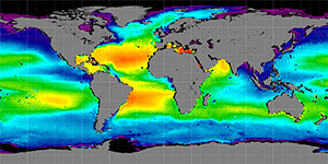 Global sea surface salinity, 2013