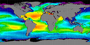 Global sea surface salinity, 2014