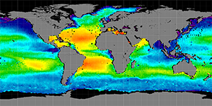 Global sea surface salinity, August 2011-2014