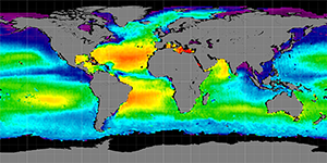 Global sea surface salinity, February 2012-2015