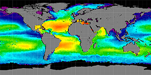 Global sea surface salinity, March 2012-2015
