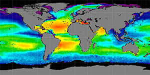 Global sea surface salinity, November 2011-2014