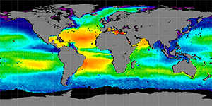 Global sea surface salinity, October 2011-2014
