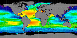 Global sea surface salinity, September 2011-2014