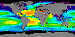 Global sea surface salinity, Autumn 2013