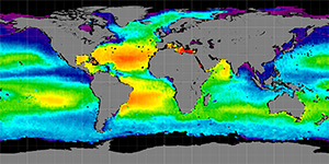 Global sea surface salinity, Autumn 2014