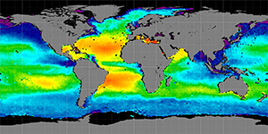 Global sea surface salinity, Spring 2012