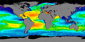 Global sea surface salinity, Spring 2014