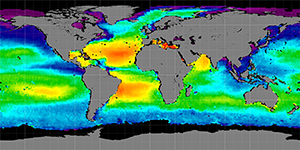 Global sea surface salinity, Summer 2012