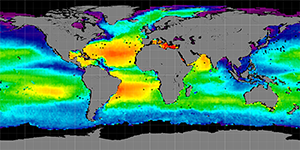 Global sea surface salinity, Summer 2013