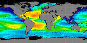 Global sea surface salinity, Winter 2011-2012