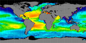 Global sea surface salinity, Winter 2012-2013