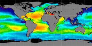 Global sea surface salinity, Winter 2014-2015