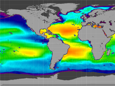 Global sea surface salinity, 25-Aug-11 to 05-May-15 (Flat)