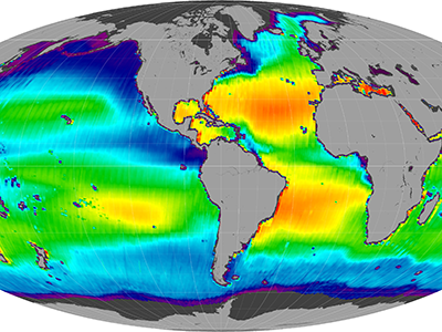 Composite image of sea surface salinity (descending)