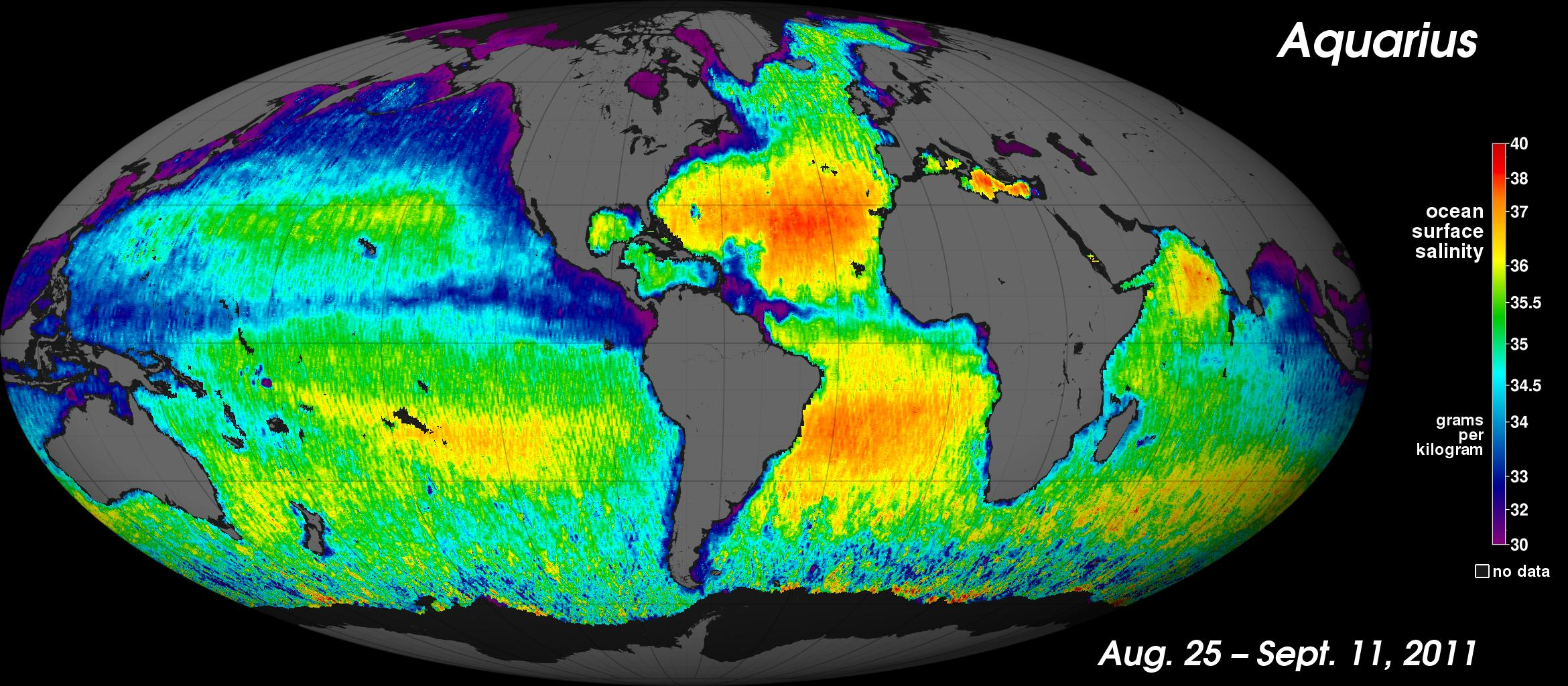 Global map of ocean salinity