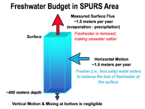 Freshwater budget in the SPURS area