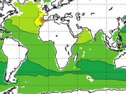 Map of annual mean seawater salinity at 1km depth