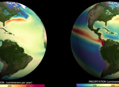 Evaporation and precipitation in the western hemisphere