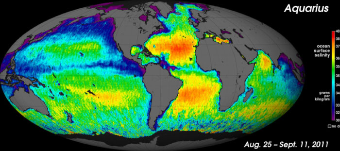 First global map of sea surface salinity